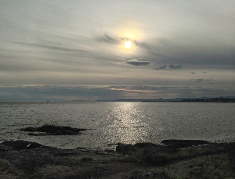 Sun set over water of Haro Strait and Juan de Fuca Strait, ferry to Port Angeles