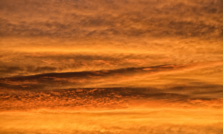 shades of orange and patterns in sky just after sunset